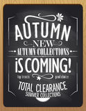 New autumn collections is coming, blackboard chalk illustration. Royalty Free Stock Image