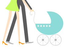 New baby. Young couple walking with a stroller Stock Photography