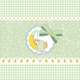 New baby announcement. Illustration of gifts for cutest newborn baby boy. Arrival card Stock Images