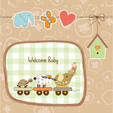 New baby announcement card with animal\'s train Stock Photos