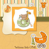 New baby announcement card with bag Royalty Free Stock Photos