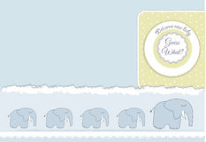 New baby announcement card with elephant Stock Photography