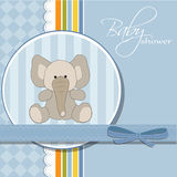 New baby announcement card with elephant Stock Image