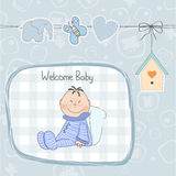New baby announcement card with little baby Stock Images