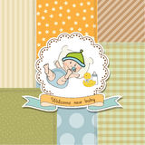 New baby announcement card with little baby Royalty Free Stock Photo
