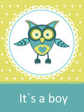New baby announcement card. With baby owl Royalty Free Stock Photography