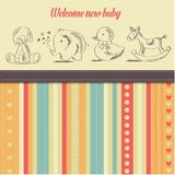New baby  announcement card with retro toys Stock Image