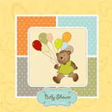 New baby announcement card with teddy bear and bal Stock Images