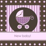 New baby arrival card Royalty Free Stock Photography