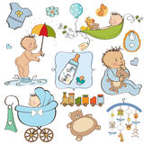 New baby boy elements set Royalty Free Stock Photography