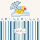 New baby boy shower card. With duck Stock Photos