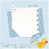 New baby boy shower card. With duck and hearts Royalty Free Stock Photography