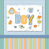 New baby boy shower card. In blue color Stock Photos