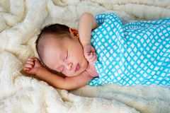 New Baby Boy sleeping wrapped in blue and white checked wrap. On cream fur rug with arms out - caucasian and pacific islander ethnicity Royalty Free Stock Photography