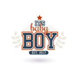 New Baby Boy. Varsity Style New Baby Boy 2016 Shower  On White Royalty Free Stock Photo