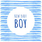 New baby boy. Watercolor creative greeting cards template. Retro style background. Element design for posters, stickers, banners, Stock Photography
