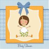 New baby girl. Announcement card Stock Photos