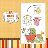 New baby girl. Announcement card Royalty Free Stock Photos