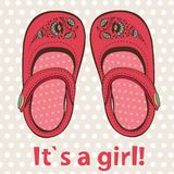 New baby girl annoucement card. With cutttle shoes Stock Image