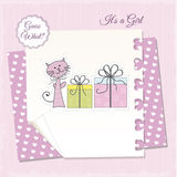 New baby girl announcement card Stock Photos