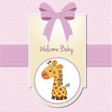 New baby girl announcement card. With giraffe Royalty Free Stock Images