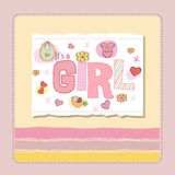 New baby girl announcement card. New baby girl pink announcement card Stock Photography