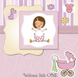 New baby girl announcement card. With little girl Stock Photo
