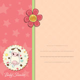 New baby girl announcement card. With cow Royalty Free Stock Photos