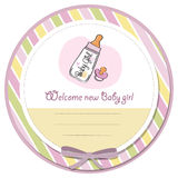 New baby girl announcement card. With milk bottle and pacifier Stock Images