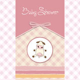 New baby girl announcement card. With cow Royalty Free Stock Image