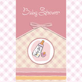 New baby girl announcement card. With milk bottle and pacifier Royalty Free Stock Photo