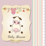 New baby girl announcement card with cow. Vector illustration Stock Photo