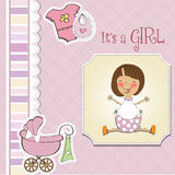 New baby girl announcement card with little girl Royalty Free Stock Photography