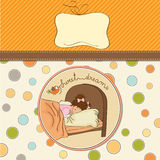 New baby girl arrived. Announcement card Stock Images