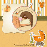 New baby girl arrived. Announcement card Stock Image