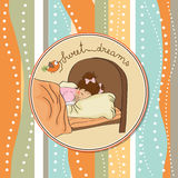 New baby girl arrived. Baby shower card Stock Photo