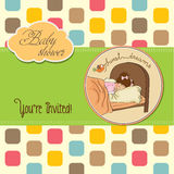 New baby girl arrived. Vector illustration Royalty Free Stock Photos