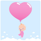 Baby girl with balloon Stock Photos