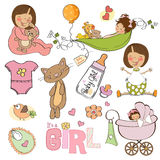 New baby girl, elements set Royalty Free Stock Photo