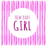 New baby girl. Watercolor creative greeting cards template. Retro style background. Element design for posters, stickers, banners, Royalty Free Stock Photography