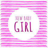 New baby girl. Watercolor creative greeting cards template. Retro style background. Element design for posters, stickers, banners,. Baby Shower Invitation Card Stock Photography