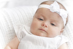 New Baby Girl wearing white Stock Photos
