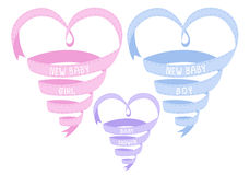 New baby heart shaped ribbon, vector Stock Images
