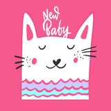 New Baby phrase hand drawn vector lettering and cat character. Isolated on pink background stock illustration