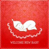 New baby red shower invitation Royalty Free Stock Photos