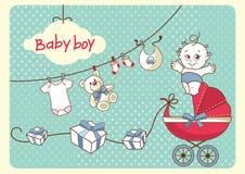 New baby retro card. Baby design set retro style stock illustration