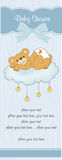 New baby shower card. With spoiled teddy bear Stock Photos
