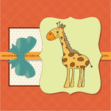New baby shower card with giraffe Royalty Free Stock Image