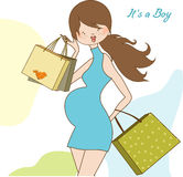 New baby shower invitation with pregnant expectant Stock Photo