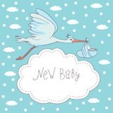 New baby, stork flying with baby Stock Image